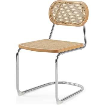 Leora Dining Chair, Cane & Chrome (H83 x W47 x D55cm)