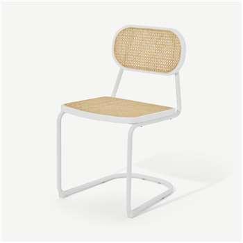 Leora Dining Chair, Cane & Ivory White (H83 x W47 x D55cm)