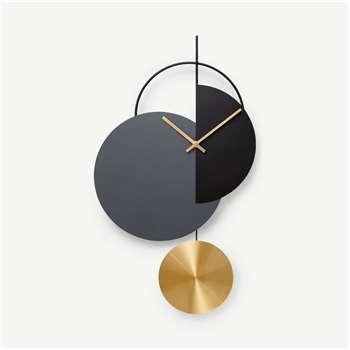 Levvy Pendulum Clock, Brass & Black (H61 x W34 x D5cm)