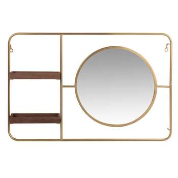 LEWIS - Round Gold Metal Mirror with 2 Shelves (H40 x W60 x D8cm)