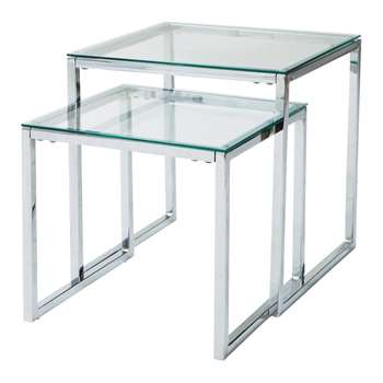 LEXINGTON Glass and metal nested coffee tables (50 x 45cm)