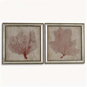 Lexington Set of 2 Framed Coral Wall Art (71 x 71cm)
