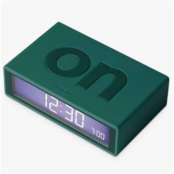 Lexon Flip Alarm Clock, Dark Green (H3 x W10.5 x D6.5cm)