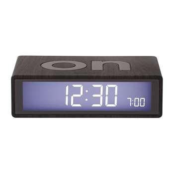 Lexon - Flip Clock - Dark Wood (H2.9 x W10.5 x D6.5cm)