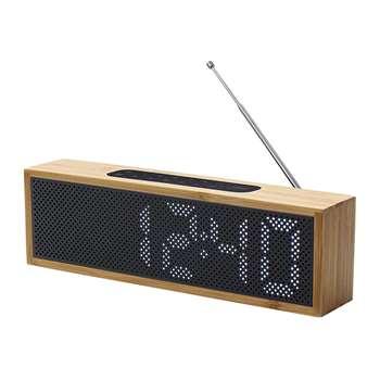 Lexon - Titanium Bamboo LED Clock Radio - Bamboo Black (H7.4 x W25 x D4cm)