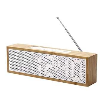 Lexon - Titanium Bamboo LED Clock Radio - Bamboo White (H7.4 x W25 x D4cm)