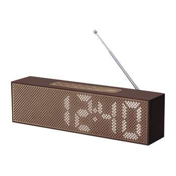 Lexon - Titanium Bamboo LED Clock Radio - Brown (H7.4 x W25 x D4cm)