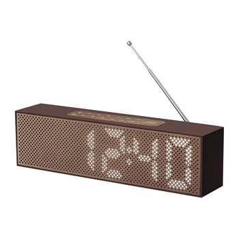 Lexon - Titanium Bamboo LED Clock Radio - Brown (H7.4 x W25 x D4cm)