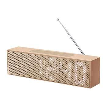 Lexon - Titanium Bamboo LED Clock Radio - Copper (H7.4 x W25 x D4cm)