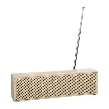 Lexon - Titanium LED Clock Radio - Soft Gold (H7.4 x W25 x D4cm)