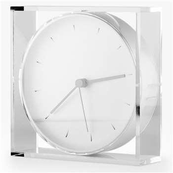 Lexon Void Mantel Clock, White (H17 x W17 x D4.8cm)