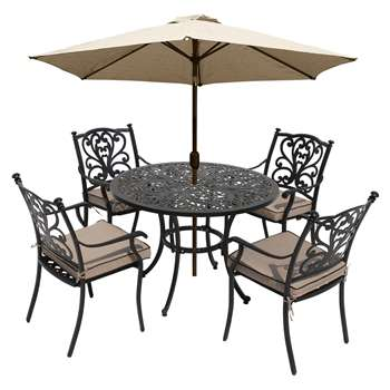 LG Outdoor Devon 4 Seater Garden Dining Table and Chairs Set with Parasol, Bronze (H73 x W105 x D105cm)