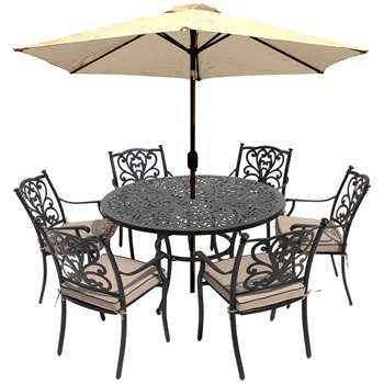 LG Outdoor Devon 6 Seater Garden Dining Table and Chairs Set with Parasol, Bronze (H73 x W135 x D135cm)