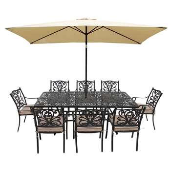 LG Outdoor Devon 8 Seater Garden Dining Table and Chairs Set with Parasol, Bronze (H73 x W210 x D105cm)