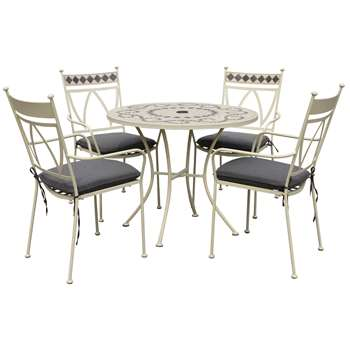 LG Outdoor Marrakech 4 Seater Outdoor Table and Chairs Set, Cream