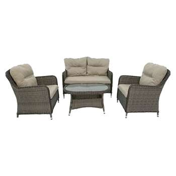 LG Outdoor Marseille 4 Seater Table and Chairs Lounging Set, Natural