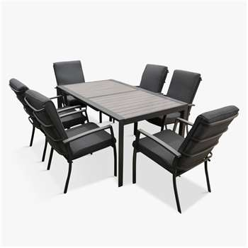 LG Outdoor Milan 6-Seat Extendable Garden Table and Chairs Dining Set, Grey (H75 x W90 x D158cm)