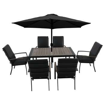 LG Outdoor Milan 6 Seater Garden Dining Table and Chairs Set with Parasol (H75 x W150 x D90cm)