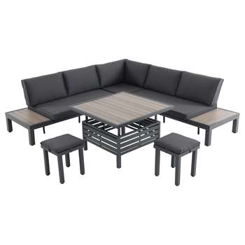 LG Outdoor Milan 7 Seater Modular Table and Chairs Lounging Set, Anthracite