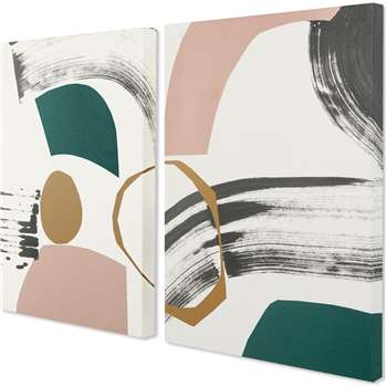 Lia Abstract by Rebecca Hoyes Set of 2 Canvas Wall Art Prints, Multi (H62 x W44 x D2cm)