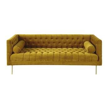 LIAM Mustard Yellow 3-Seater Velvet Sofa (H74 x W189 x D75cm)