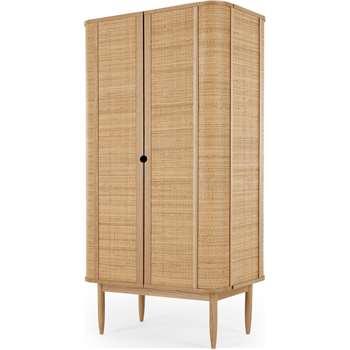 Liana Double Wardrobe, Ash & Rattan (H172 x W90 x D57cm)