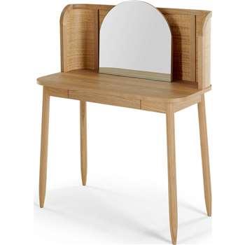 Liana Dressing Table, Ash & Rattan (H118 x W89 x D45cm)