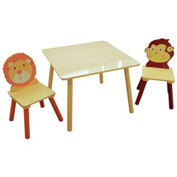 Liberty House Jungle Kids Table & 2 Chairs (H44 x W60 x D27cm)