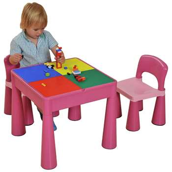Liberty House Toys Activity Table and Chair Set - Pink (H45.5 x W31.8 x D30.5cm)