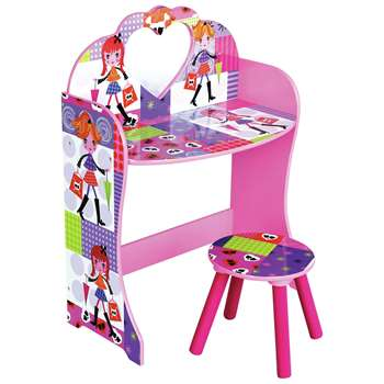 Liberty House Toys Fashion Girl Dress Up Table and Stool (H81.5 x W62.5 x D34cm)