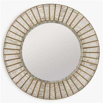 Libra Aurora Round Mirror, Antique Silver/Gold (H60 x W60 x D10cm)