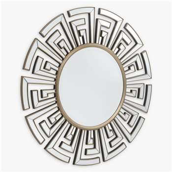 Libra Claridge Deco Round Mirror, Antique Bronze (Diameter 120cm)