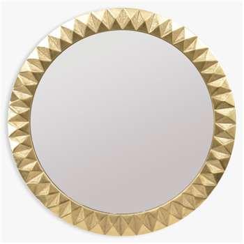 Libra Savoy Large Round Embossed Mirror, Brass (H110 x W110 x D5cm)