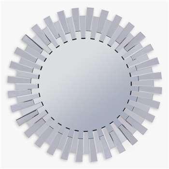 Libra Sunflower Round Mirror, Silver, Dia.100cm (H100 x W100 x D5cm)