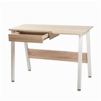 Life Carver Home Office Desk WorkStation Wooden & Metal (76 x 110cm)