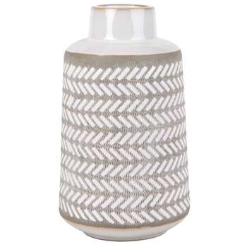 Light Grey and Taupe Ceramic Vase with Graphic Print (H30 x W17.5 x D17.5cm)