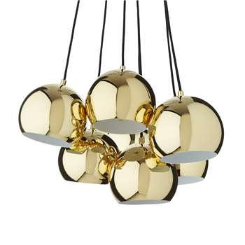 Koge Ball Multi Pendant Lamp, Stainless steel - Multi, Brass, 14.5 x 18cm