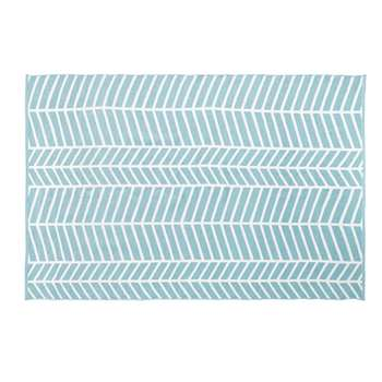 LIGURIA Blue Outdoor Rug with White Graphic Print (H160 x W230cm)