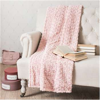 LILAS faux fur blanket in pink (125 x 150cm)