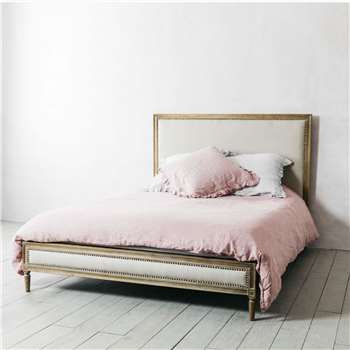 Lilian Natural Linen King Size Bed (H127.5 x W163 x D215cm)