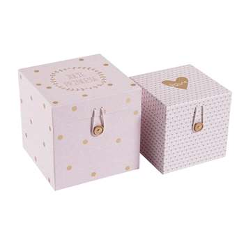 Lilly Printed Cardboard Boxes In Pink (18 x 18 x 18cm)
