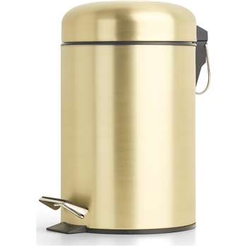 Lilo Bathroom 3L Bin, Brass (H30 x W13 x D18cm)