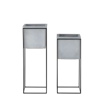 LIMA 2 Pale Grey Planters with Black Metal Stand (H76.5 x W27 x D27cm)