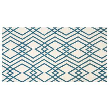 Lina Large Eastern Inspired Geo Wool Rug, Blue (160 x 230cm)