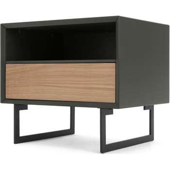 Lincoln Bedside Table, Oak & Grey (H45 x W50 x D40cm)