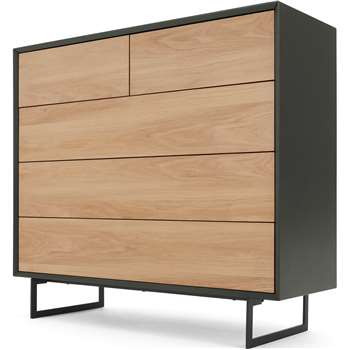 Lincoln Chest Of Drawers, Oak & Grey (H100 x W110 x D40cm)