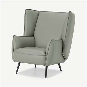 Linden Accent Armchair, Concrete Leather (H95 x W86 x D93cm)