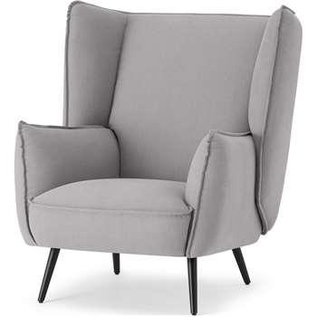 Linden Accent Armchair, Mineral Cotton & Linen Mix (H95 x W86 x D93cm)