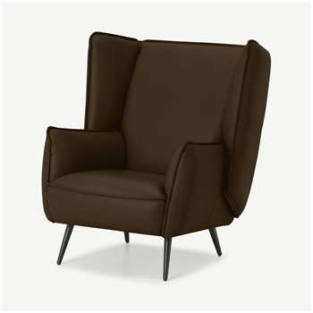 Linden Accent Armchair, Mocha Leather (H95 x W86 x D93cm)