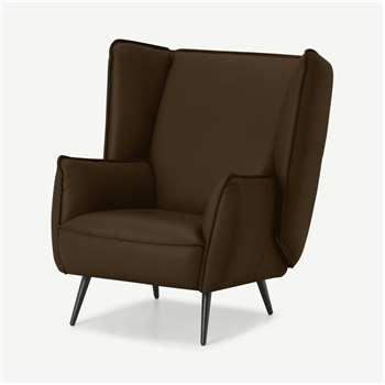 Linden Accent Armchair, Mocha Leather (H95 x W86 x D93cm)